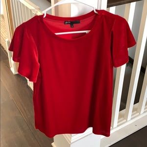 Gibson glam red velvet with flutter sleeve top